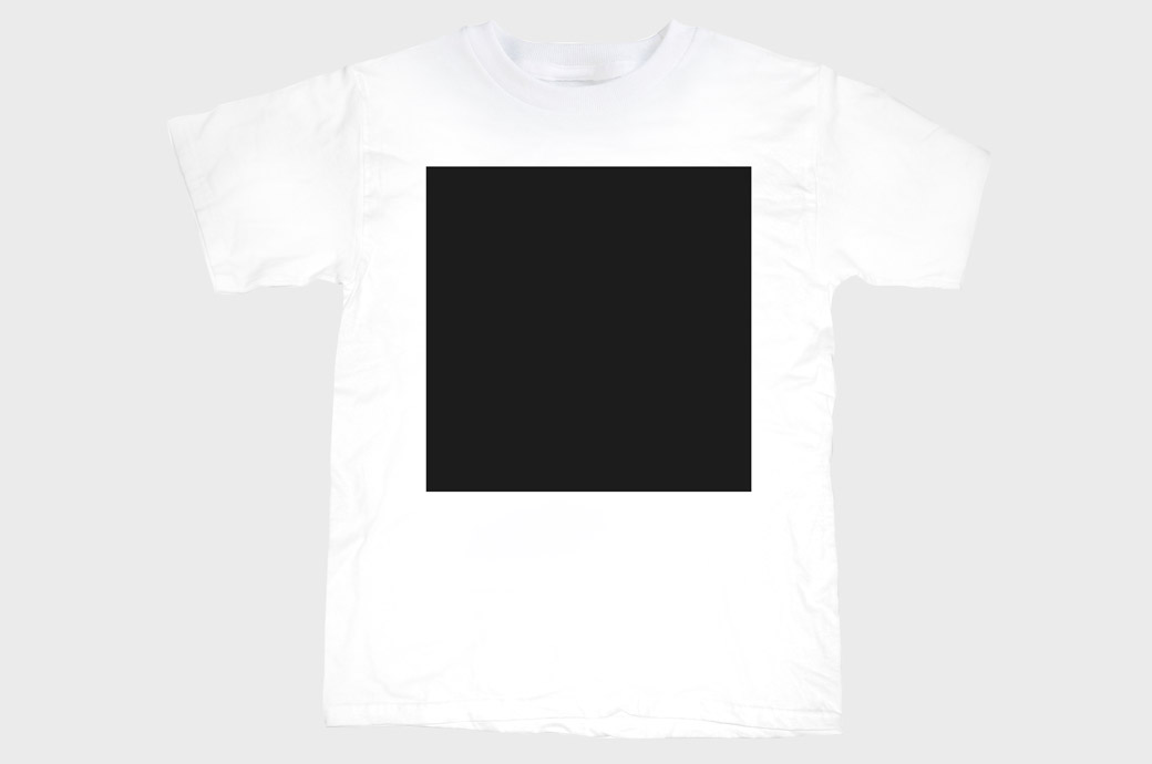 a big black square on a plain white t-shirt