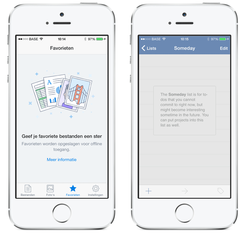 Dropbox and Things iOS apps show descriptive help messages