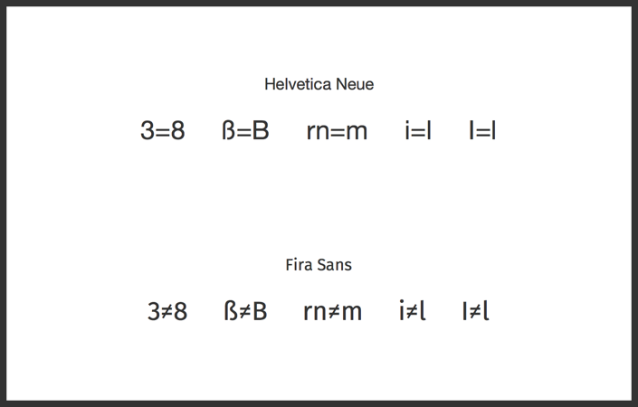 Helvetica vs Fira as UI typefaces