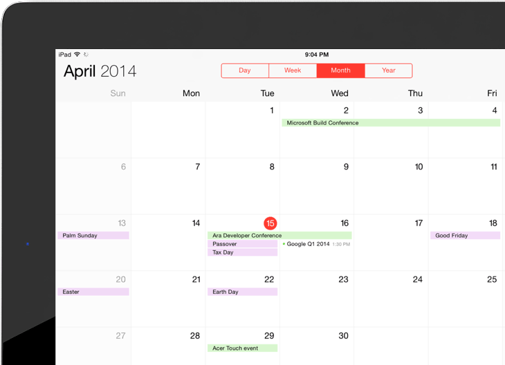 calendar app on iOS ipad