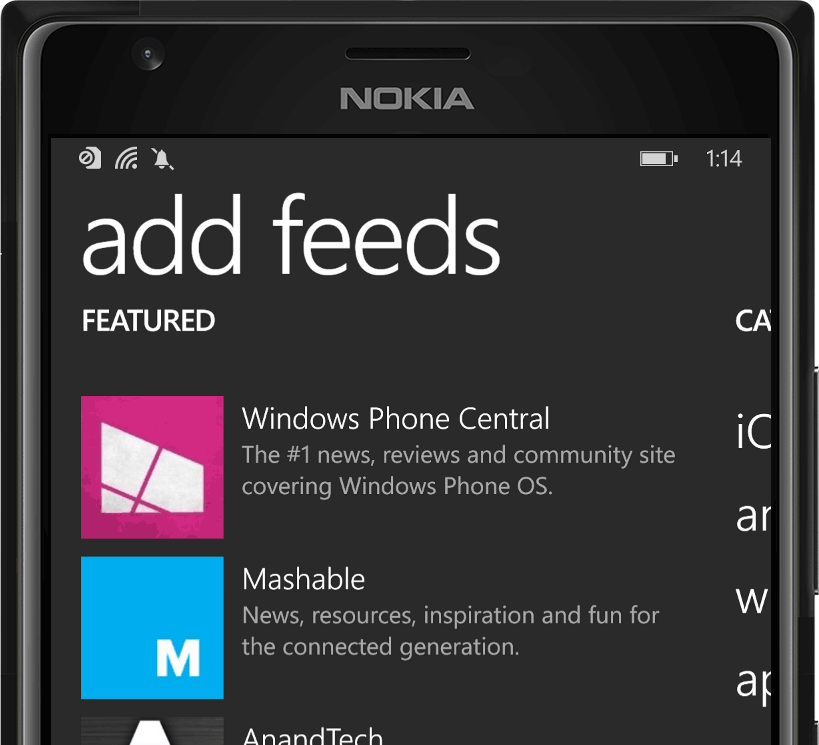 nextgen reader on a nokia windows phone