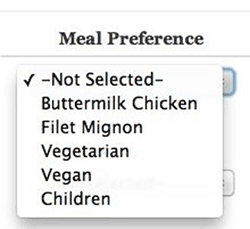 Oh boy! Meal preference dropdown