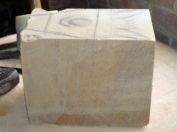 Stone carving beginning, photo by Eilidh Fridlington