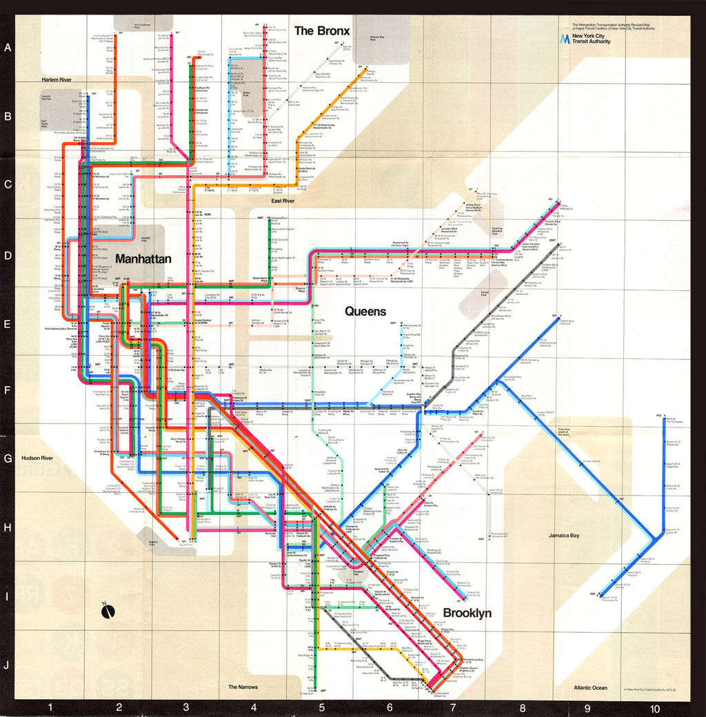 Vignelli NYC subway map of 1972