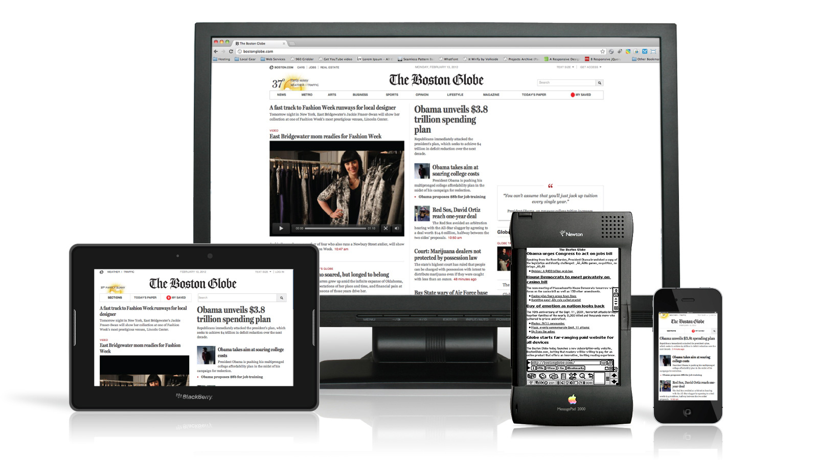 The Boston Globe responsive website anno 2011