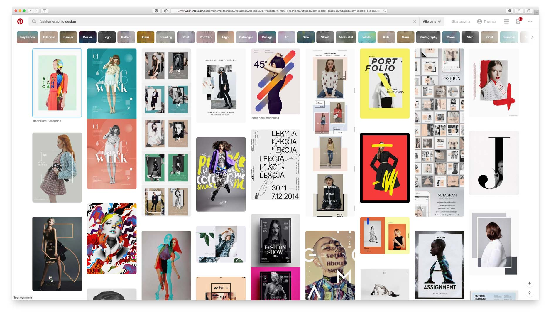 Pinterest search result page for Fashion Graphic Design