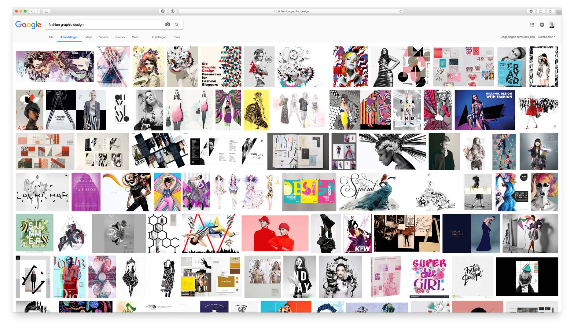 Google Images search result page for Fashion Graphic Design